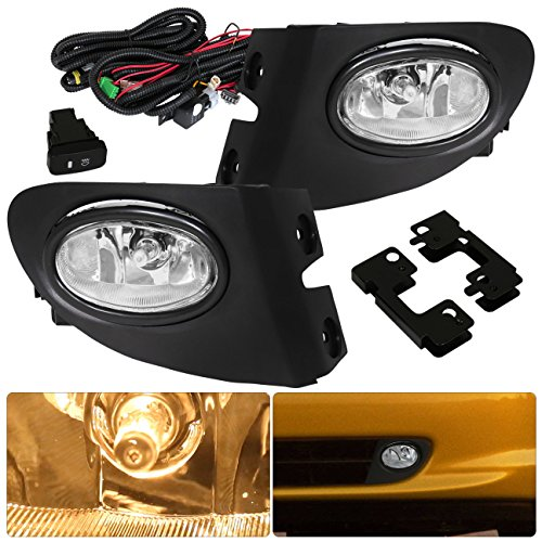 AJP Distributors Direct Replacement Front Driving Bumper Housing Fog Lights Lamps Wiring Harness Switch Complete Assembly Unit Set Compatible For Civic Si EP3 Hatchback 2002 2003 2004 2005 02 03 04 05