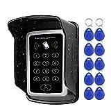 NN99 Zutrittskontrollsystem RFID-Tastatur 125 kHz EM-Kartenleser + wasserdichte regensichere Abdeckung + 10 RFID-Schlüsselanhänger Tags Türöffner Outdoor für Zuhause/Wohnung/Büro