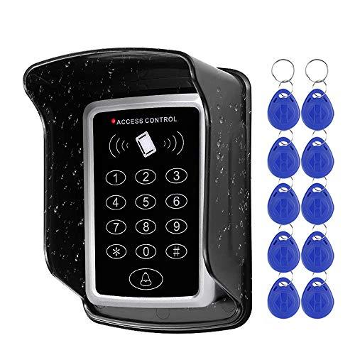 NN99 Sistema de control de acceso Teclado RFID Lector de tarjetas EM de 125 KHz + Cubierta impermeable a prueba de lluvia + 10pcs Llaves RFID Llaves de apertura de puertas Exterior para el hogar