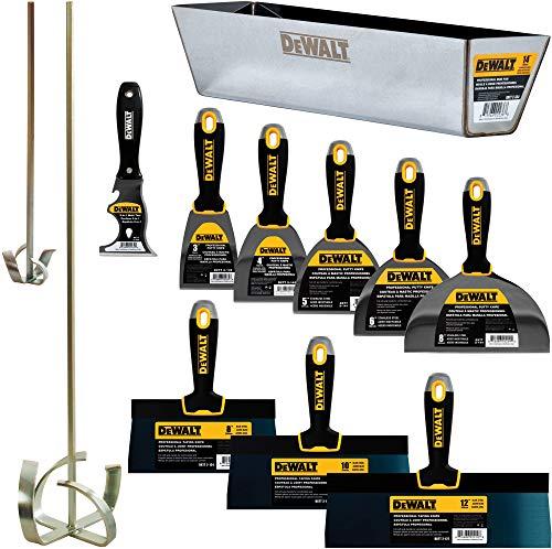 DEWALT DXTT-3-610 Handwerkzeug-Set aus Karbonstahl, 20,3 cm, 20,4 cm, 3/4/5/6/8 Zoll Spachtelmesser, 2 Schlammmischer, inklusive 35,6 cm Schlammpfanne