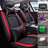 Maidao Custom Car Seat Cover- 5-Seat Luxury PU Leather Cushion-Full Set - Customize The Picture - Customized for Your Personal Model - with Headrest and Waistrest -(Black red)