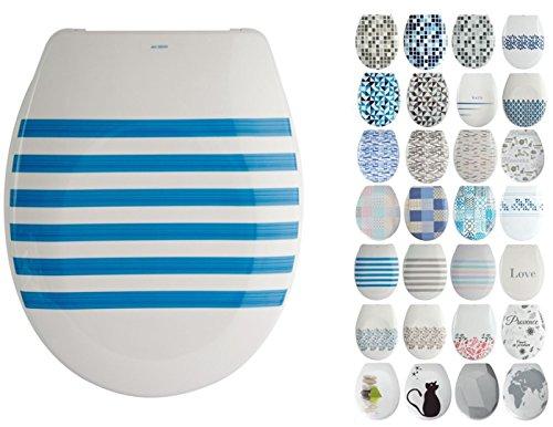 """MSV Design WC Sitz, Absenkautomatik, Fast Fix/Schnellbefestigung, Befestigung mit Knopfdruck, Toilettensitz WC Deckel Klobrille """"Seauville"""" Blau/Weiß"""