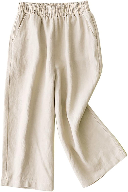 KalvonFu Women Fashion Cotton Linen Elastic Waist Wide Leg Crop Culottes Pant