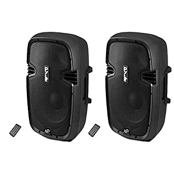 PylePro 900W 12  Bluetooth Powered DJ PA Black Standing Speaker System  2 Pack