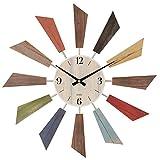 ぼん家具 壁掛け時計 アナログ 丸型 掛時計 掛け ウォールクロック 秒針なし 木目調 カラフル