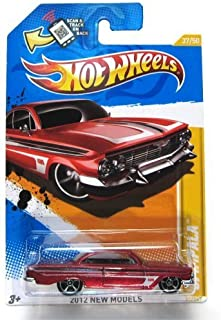 Hot Wheels 2012 New Models '61 Impala Red 37 Wal-mart Exclusive Hot Wheels Deco on Windshield