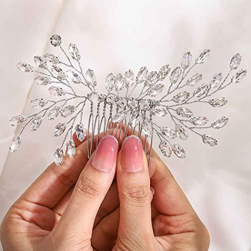 Fairvir Brautschmuck Hochzeit Haarkamm Silber glitzernde Strass Seitenkamm Braut Haar Accessoires für Frauen und Mädchen