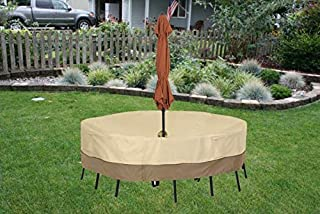 Vibefire Patio Furniture Cover, Waterproof Dustproof Outdoor Table and Chair Cover with Umbrella Hole, Heavy Duty Garden T...
