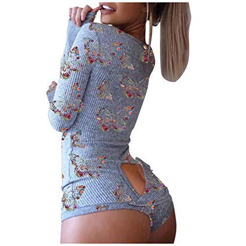CHMORA Onesie - Pijama de una pieza para mujer, sexy, cuello en V, parte trasera funcional, con solapa, con botones, pijama para mujer, de manga larga, mameluco para dormir, regalos para mujer