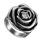 Flongo Bague Femme Acier Inoxydable Rétro Rose Fleur Plaqué Zircon Gothique Couleur Argent Noir Taille 62