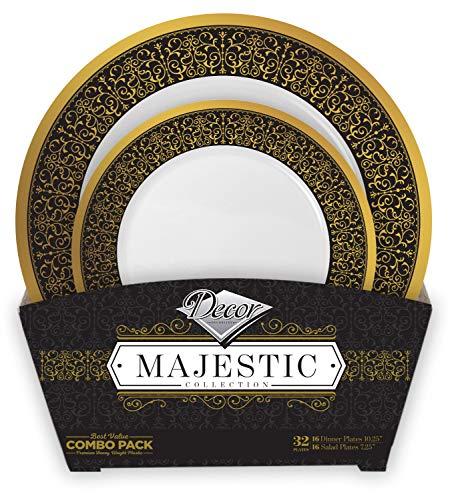 Decorline - Set de Platos de Plástico para Fiestas Elegantes - Negro y Oro - Colección Majestic - Platos Desechables Vajilla de Plástico con Aspecto Porcelana - 32 Piezas