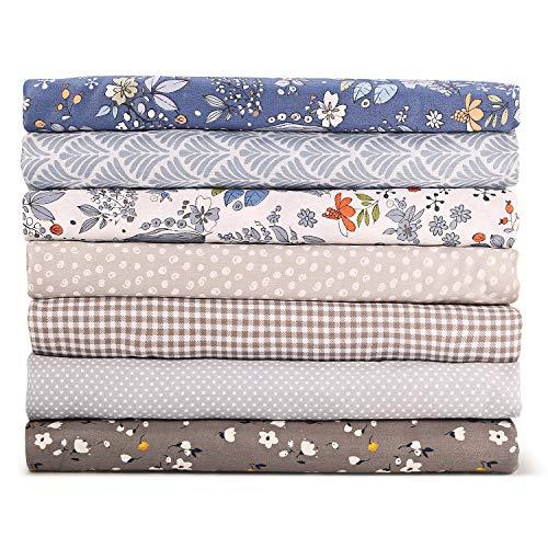 tejidos de algodón 7 piezas de tela de acolchado de los cuartos gruesos Azul Coser tela de costura de algodón con estampado floral superior 49x51cm para acolchar, 19