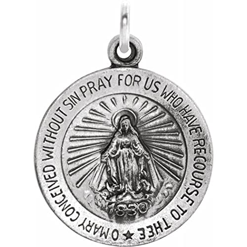Collar con colgante de plata de ley 925 de 15 mm pulido milagrosa medalla joyería regalos para mujeres