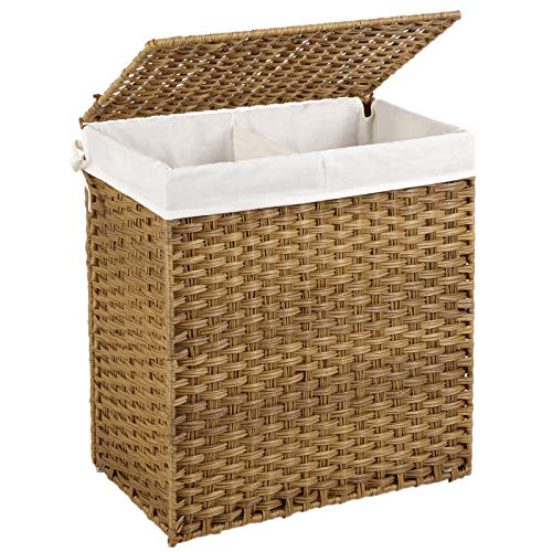 SONGMICS Handwoven Laundry Hamper, Synthetic Rattan Laundry Basket, Divided Clothes Hamper with Removable Liner Bag,Natural ULCB52NL