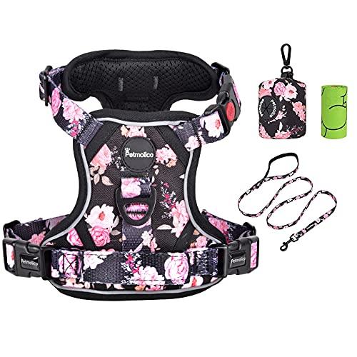 Petmolico No Pull Dog Harness Set, 2 Leash Attchment Easy Control Handle Reflective Vest Dog Harness Small Breed, Small Dogs Harness and Leash Set with Poop Bag Holder, Small Pink Rose