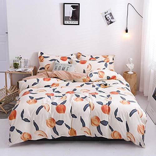 Ahooseso 3D Printed Bedding Set For Boys Single 135 X 200 Cm Cartoon Fruit Peach Duvet Cover With Zipper Closure Soft Microfiber Quilt Cover With 2 Pillowcases 50X75Cm