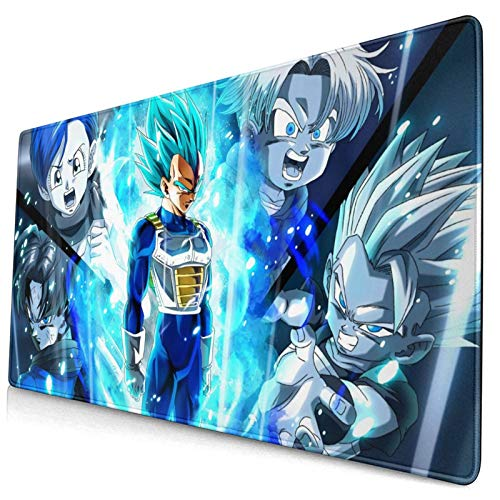 Vegeta and Bulma Large Gaming Mouse Pad XXL Extended Mat Desk Pad Mousepad with Non-Slip Computers Laptop Office&Home 750×400×3mm (29.5×15.8×0.12 Inch)
