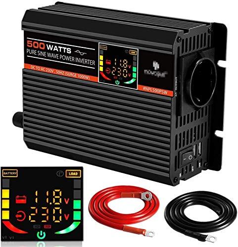 ZLZH 500W Automotriz Pure Sine Voltage Converter - Convertidor de inversor de energía con 1 Socket de la UE y 2 Puertos USB - Invergidor de automóviles 24V a 230V Converter-Power Power 1000 W