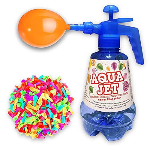 Botella con Hinchador para Globos de agua. Globos de Agua para Fiestas. Llenado fácil y Rápido. Botella de 1,5 Lts. Y 100 Globos. Juegos de agua Divertidos. Water Balloons. (AZUL)
