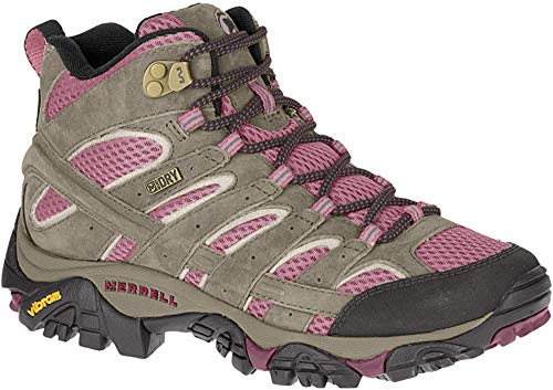 Merrell Women's Moab 2 Mid Waterproof Hiking Boot, Boulder/Blush, 11 M US