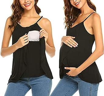 Ekouaer Camiseta de lactancia sin mangas de doble capa para mujer, para embarazadas, lactancia, embarazadas, maternidad, verano, moda premamá con correa ajustable para el hombro