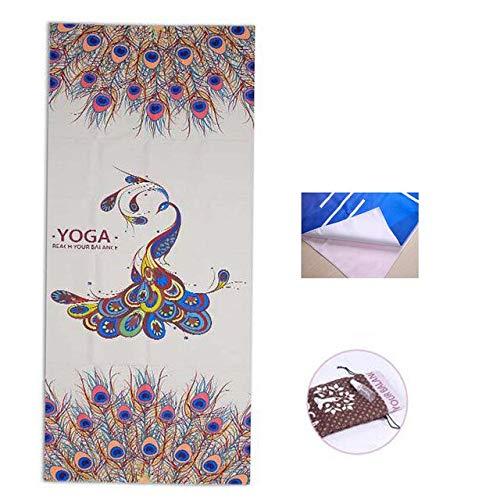 Yoga-handdoek met opdruk van microvezel, absorbersweat, yoga-handdoek van siliconen, antislip, 183 x 65 cm, yoga-deken
