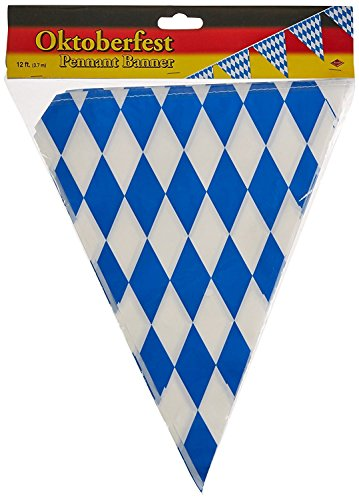 Beistle 50970 Oktoberfest Bavarian Flag Pennant Banner 11 Inches by 12 Feet (3-Pack)