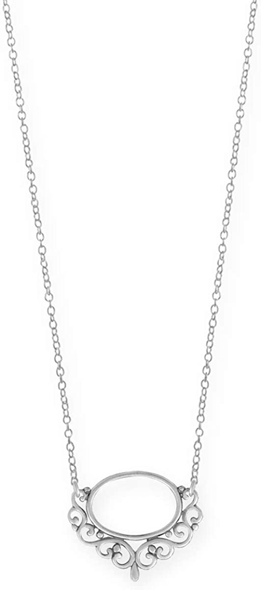 Boma Jewelry Very popular Sterling Silver Open Detroit Mall 18 Necklace Filigree Oval Inc