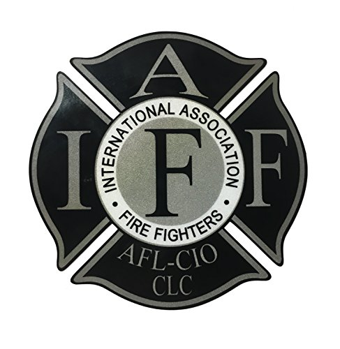 "The 4"" REFLECTIVE Black IAFF Union 3m Vinyl Firefighter Us Made Window Decal"