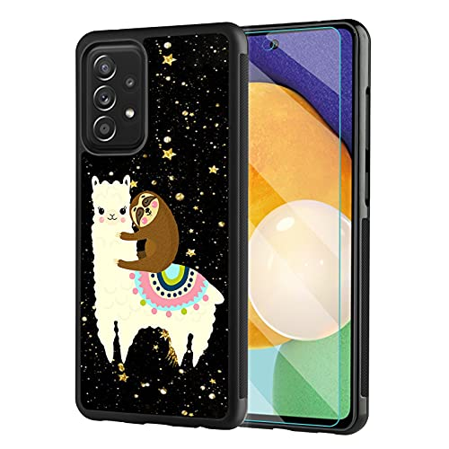 Cute Samsung Galaxy A52 5G Case with Screen Protector for Women Men, Tire Outline Anti-Slip Shock Absorb Design,Alpaca Sleeping Sloth Protective Case for Samsung Galaxy A52 5G 6.5 Inch 2021 Release