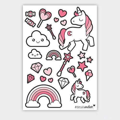 #detailverliebt 25 Einhorn-Sticker I DIN A4 Bogen I Mädchen Einhorn-Aufkleber für Fahrrad-Helm, Laptop, Tablet, Handy, Scrapbooking, Kinder-Geburtstag, Schultüte oder als Geschenkidee I dv_149