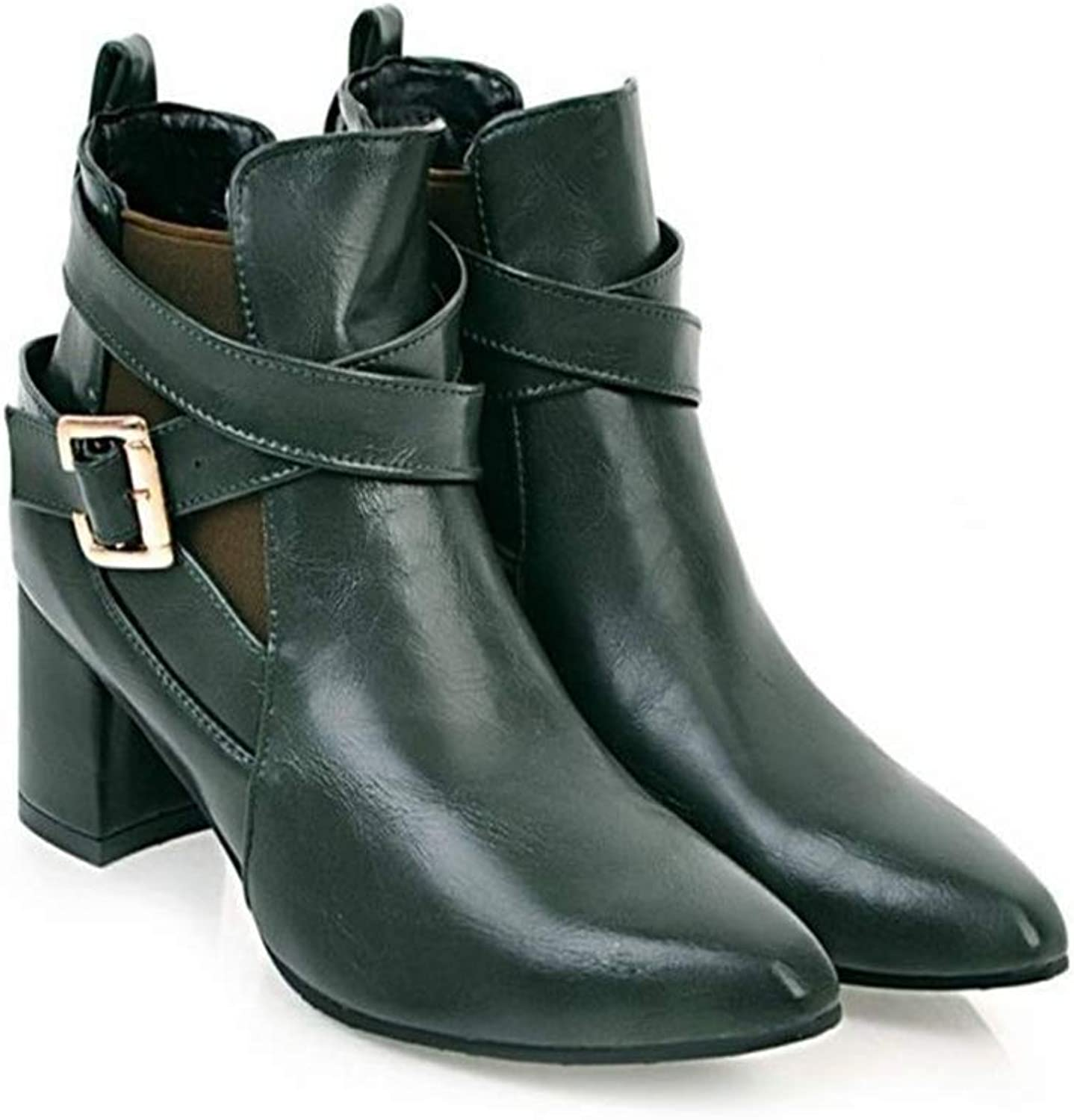 FORTUN Simple Ankle Boots Women's Thick Bare Boots with Martin Boots