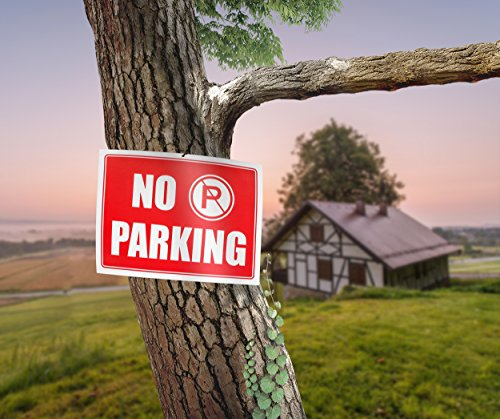 """Ram-Pro NO PARKING Sign - 9"""" High x 12"""" Wide Red on White Reflective Plastic Signs for Driveway, Personal Parking Space (Pack of 4) Photo #2"""