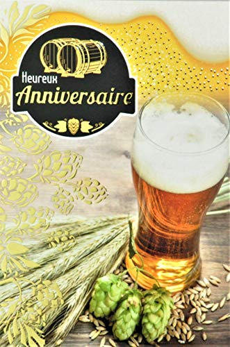 Glückwunschkarte zum Geburtstag, Gelbgold, Bier, Verkostung, Schaum, Fass Haube, Malt, Getreide, Orge, Weizen, hergestellt in Frankreich