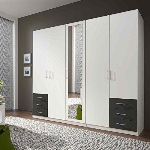 lifestyle4living Kleiderschrank mit Spiegel-Tür, Alpin Weiß, Graphit-Grau, 225 cm   Drehtürenschrank 5 türig mit 6 Schubladen im modernen Stil