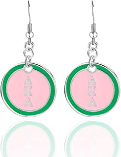 KINGSIN AKA Sorority Gifts for Women,Graduation Gift Silver Crystal Stud Earrings Dangle, Alpha Kappa Alpha Paraphernalia Graduation Jewelry