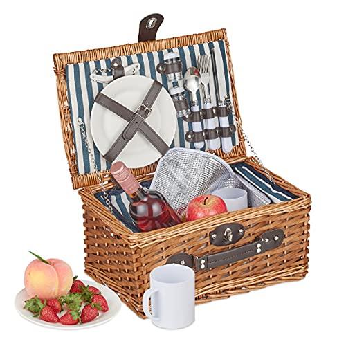 Relaxdays Picknickkorb für 2 Personen, 13-TLG. Picknick Set, Picknickgeschirr, Kühlfach, Weidenkorb mit Henkel, Natur