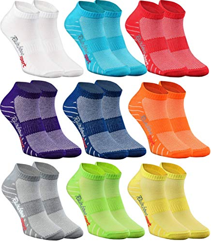 Rainbow Socks - Damen Herren Quarter Sport Socken - 9 Paar - Mehrfarbig - Größen 39-41