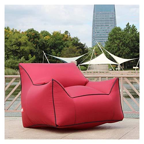 Withou Puf inflable para adultos, silla de playa de aire para adultos, cojín impermeable para jardín, muebles de interior y exterior, grueso, suave y antideslizante (color: vino)
