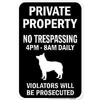 PRIVATE PROPERTY ブラックマグネットサイン:スキッパーキ シルエット 英語 私有地 無断立入禁止