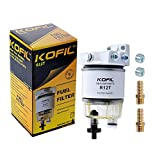 R12T Fuel Filter Water Separator Complete Kit - Marine SPIN-ON R12T Filter Replaces S3240 120AT NPT ZG1/4-19 Fit 3/8 Inch NPT Outboard Motors For Diesel And Gasoline Engine With Four Fittings