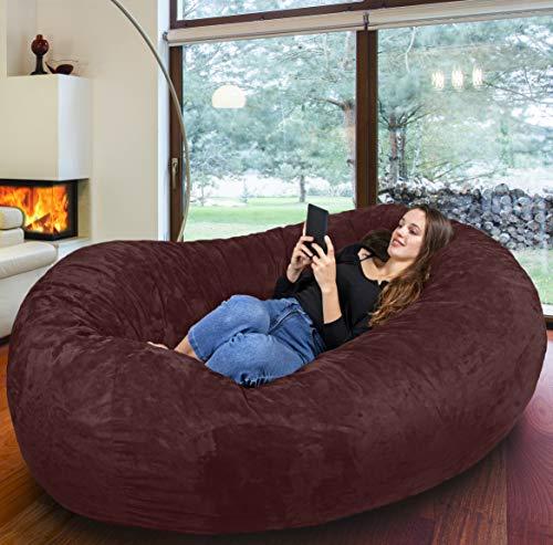 Der größte Sitzsack Europas - Riesiger Giga Sitzsack - 1500L Memory Schaumstoff mit Waschbarem Kuschelbezug in Espresso-Milano - Gemütliches Sofa, Bett, Bean Bag für Kinder und Erwachsene