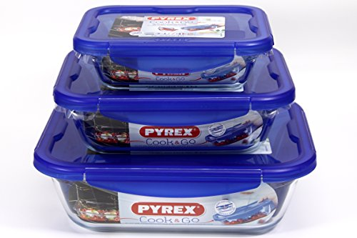Pyrex Rectangle Cook & Go 3pc Set 08.L, 1.7L & 3.3 Litre- Rectangular Container with Lid 100% Airtight, Food Container, Suitable for Oven, Microwave and (20cm, 0.8L, 24cm, 1.7L & 30cm, 3.3L)