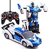 Remote Control Transformer Car, Transformer RC Car for Boys Transformers Toys 2 in 1 Transforming Robot RC Car for 5-12 Years Old Kids Light Up RC Racing Car for Boys 1:18 Scale RC Car (Police car)