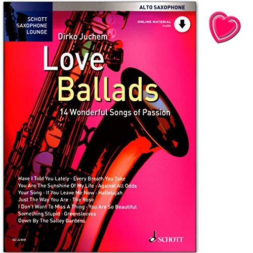 Love Ballads 14 Wonderful Songs of Passion – 14 canciones apasionadas para saxofón alto y piano – Libro de partituras de Dirko Juchem – con audio Onlilne y pinza para partituras