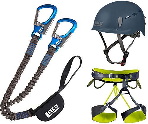 LACD Klettersteigset Pro + Klettergurt Camp Größe L + Helm Protector 2.0 Midnight Navy