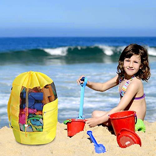 Faburo Strandspielzeug Tasche Sandspielzeug Netztasche Aufbewahrungstasche Spielzeug Rucksack Mesh Stoff Rucksack Tasche für Kleines Sandspielzeug Wasserspielzeug