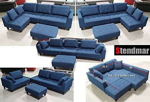 New Multifunction Sectional Sofa in Blue Jean Fabric S160b