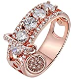 Women Bridal Fashion Crystal Rhinestone Hollow Out Ring Wedding Engagement Anniversary Bands Jewelry Gift (Rose Gold, 7)