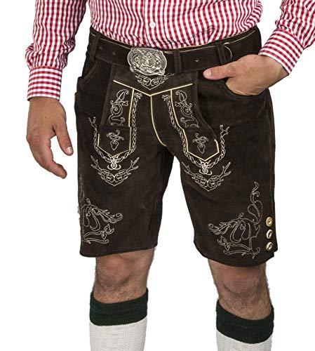 Herren Lederhose Wiesnjäger mit Trachtengürtel - Herren Trachtenlederhose Oktoberfest mit Gürtel - Trachtenhose kurz (58, dunkelbraun)